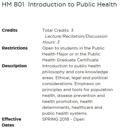 New Master of Public Health Program Requirements